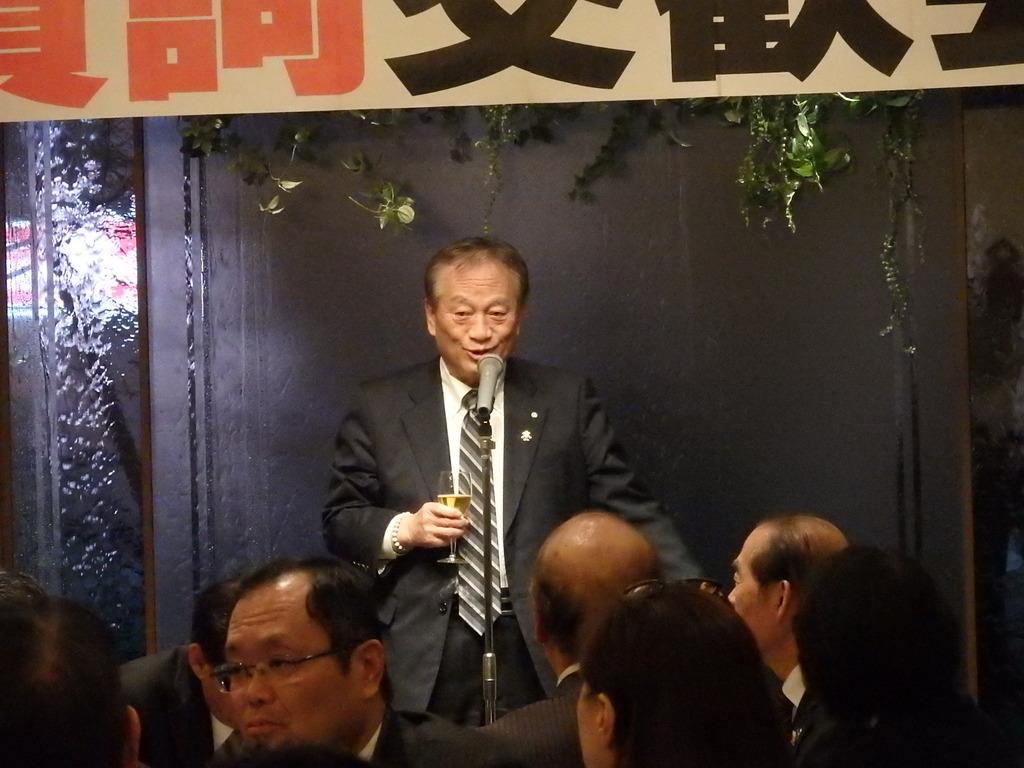 賀詞交歓会(乾杯):家入勲 大津町長